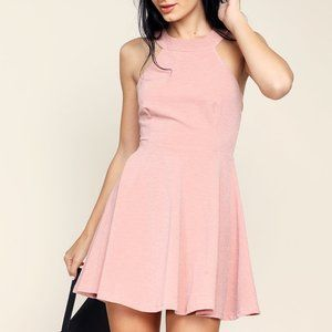 Papaya Pink Backless Cutout Mini Dress NWT (S)